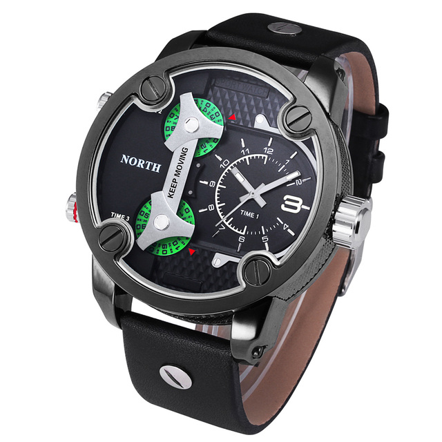 Reloj de hombre de lujo 2016 nueva marca north tiempo de tres movimientos de cuarzo reloj deportivo de cuero para hombre relojes reloj de regalo de moda de plata