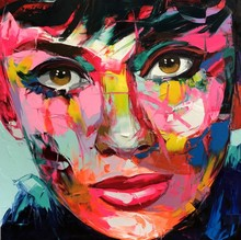 Francoise Nielly Knife Canvas Painting Abstract Portrait Face Audrey Hepburn Oil Paint Figure Wall Art Pictures Home Decorations