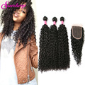 8A Kinky Curly Virgin Hair With Closure Rosa Hair Products Malaysian Virgin Hair With Closure 4 Bundles Curly Hair With Closure