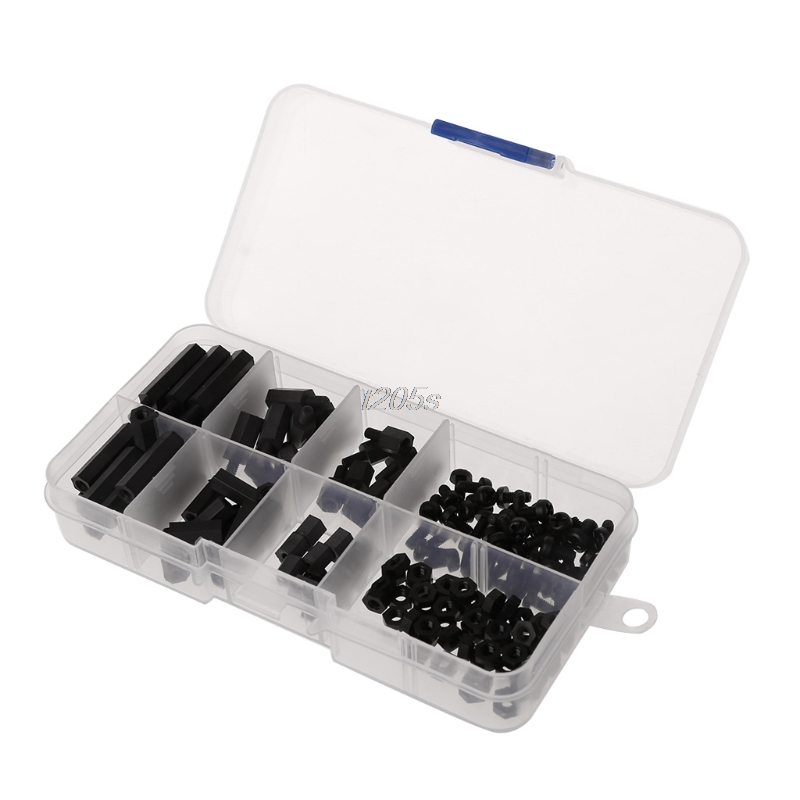 160Pcs M3 Nylon Black M-F Hex Spacers Screw Nut Assortment Kit Stand off Set Box T25 Drop ship