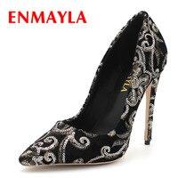 ENMAYLA Classic Black Shoes Woman Pumps Office&Career Shoe Plus Size 34 43 be customized 7 8 11 12cm Heels Shallow High Heels