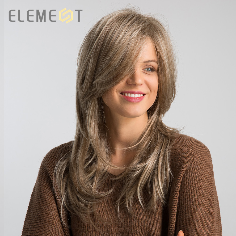 Element 20 Inch Long Synthetic Wig With Side Fringe Mixed Brown Natural Hairline High Density Heat Resistant Wigs For Women