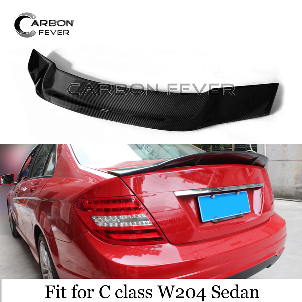W204 Carbon Fiber <font><b>Rear</b></font> Trunk <font><b>Spoiler</b></font> For <font><b>Mercedes</b></font> W204 C class Sedan 2007 - 2014 C250 <font><b>C300</b></font> C350 image
