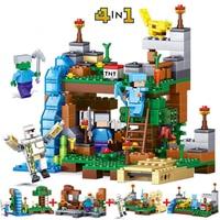378pcs 4in1 MY WORLD Sword Espada Assembling Building Blocks Compatible Legoed Minecrafted Figures City Bricks Set