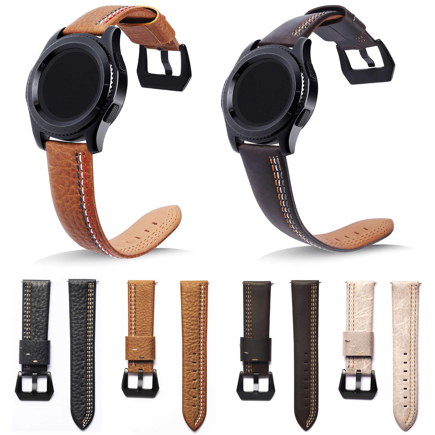 Retro Genuine Classic Leather Strap For Samsung Gear S3 Band Frontier Strap For Gear S3 Classic Watchband 22mm Watch Bracelet tearoke 11 color silicone watchband for gear s3 classic frontier 22mm watch band strap replacement bracelet for samsung gear s3
