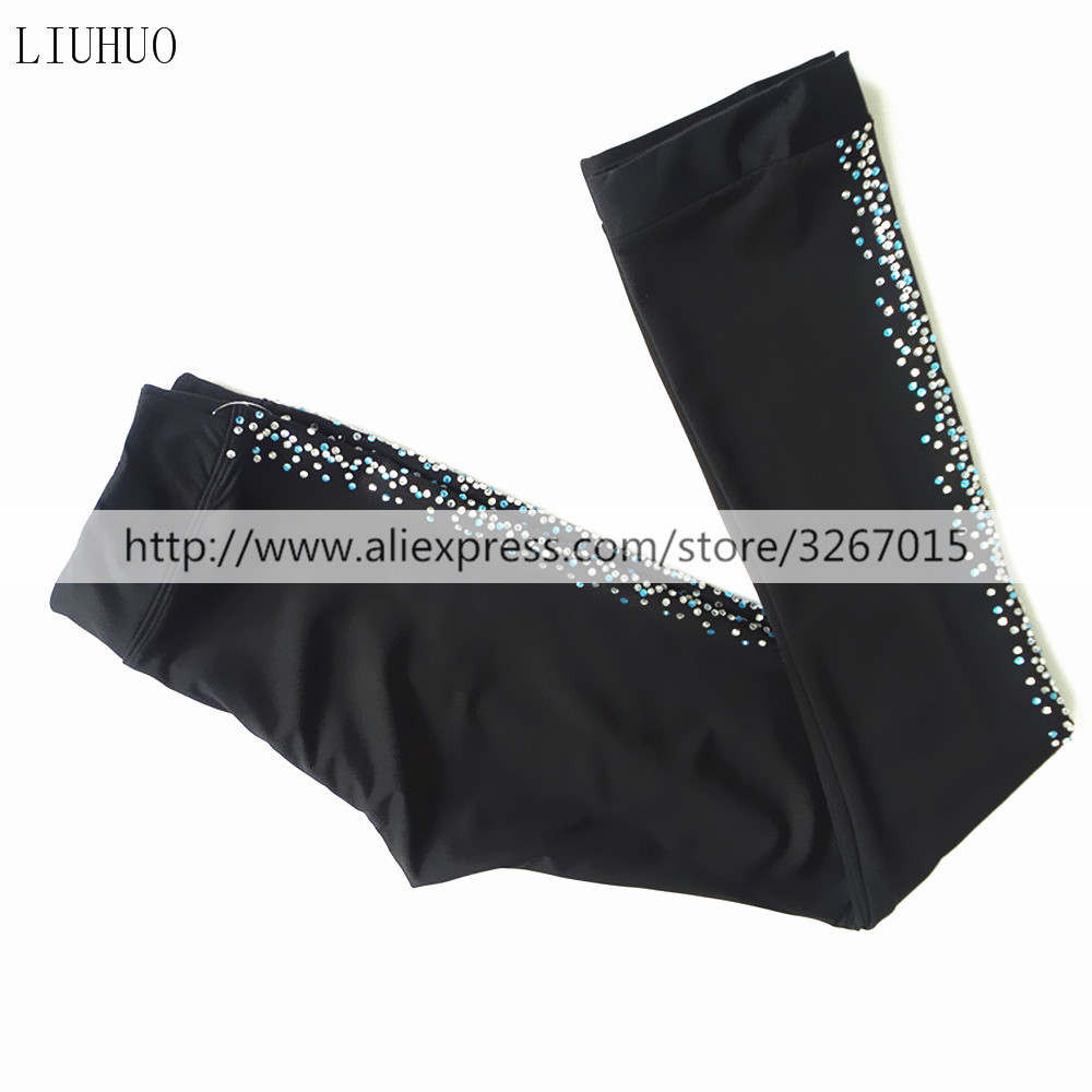 Customized Ice Skating long Pants Figure Skating Costume Trousers Adult Child Competition Pure black color drill decoration