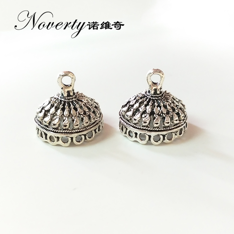 New 4pcs/bag 20mm Retro Zinc Alloy Silver Bell Shape Round Beads Tassels End Cap Charms Pe