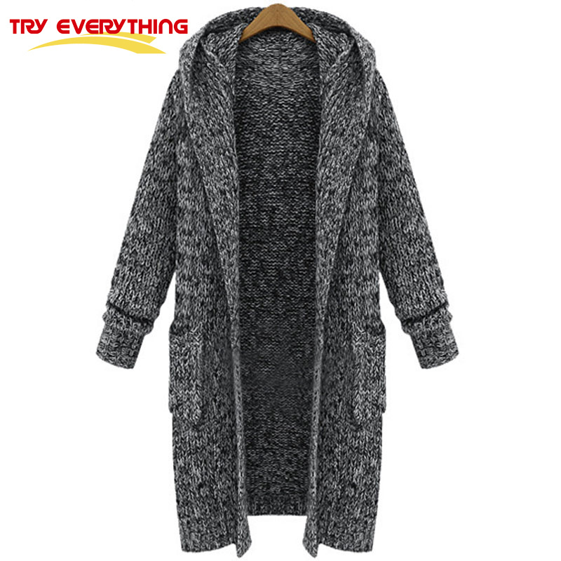 Try Everything Coarse Knitting Long Cardigan Female 2017 Autumn Winter Thick Gray Women Hooded Cardigan Sweater Coat Long Sleeve