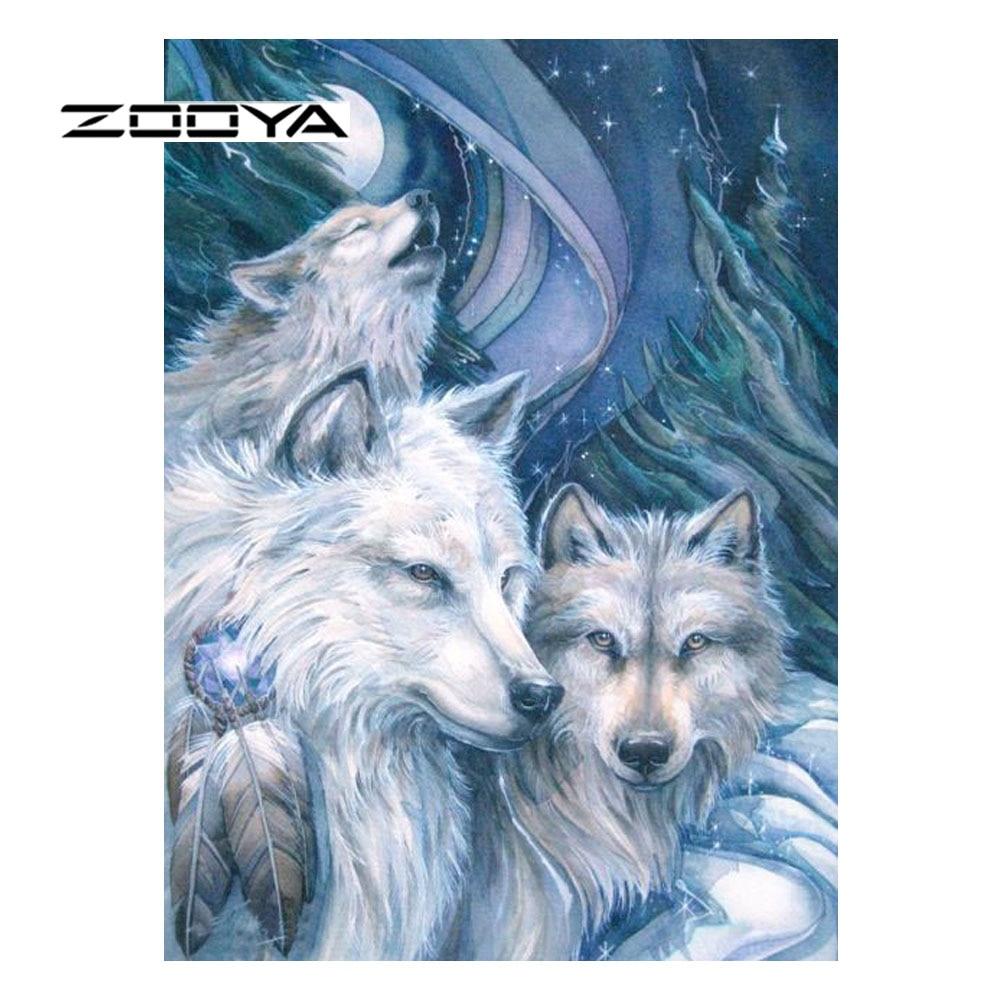 ▻Zooya diamante pintura animal nieve Lobo completo diamante Bordado ...