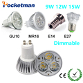 LED Spotlight GU10 COB Dimmable led bulb 7W 10W 15W Warm White / white 85-265V Ultra Bright GU 10 Bulbs Free shipping 1PCS