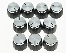 KAISH Pack of 10 Guitar Amplifier Knobs Silver Cap Push On Knob fits Marshall AMP