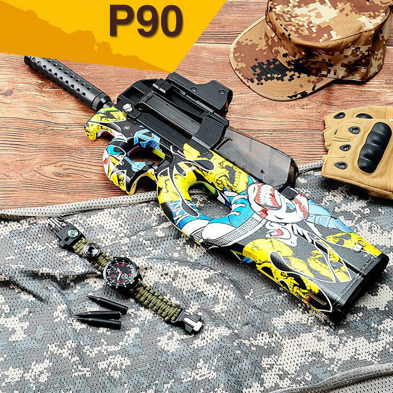 P90 Graffiti Edition Electric Toy GUN Water Bullet Bursts Gun Live CS Assault Snipe Weapon Outdoor Pistol Toys mini wrist squirt water gun gaming toys for outdoor