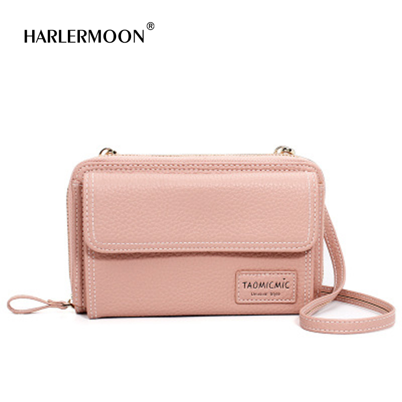 Harlermoon Women PU Leather Long Clutch Wallet Large Capacity Zipper Purse Lady Women Phone Pocket Card Holder Crossbody Bags coneed fashion women coins change purse clutch zipper zero wallet phone key bags j27m30