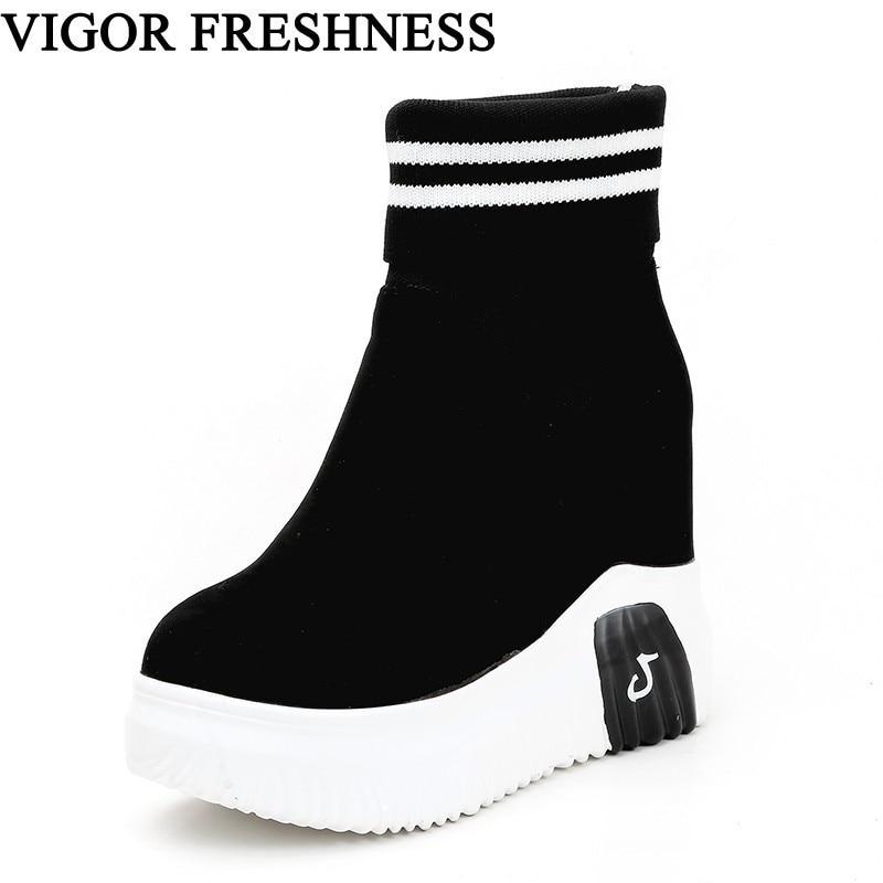 Женские ботинки VIGOR, осенние ботинки на очень высоком каблуке и платформе