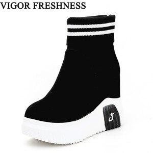 Image 1 - CANLı TAZELIK Kadın Ayakkabı Ayak Bileği Çorap Kadın Süper Yüksek Topuklu Kısa Elastik Çizmeler Sonbahar Ayakkabı Platformu Ayakkabı WY187