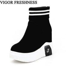 VIGOR FRESHNESS ผู้หญิงรองเท้าข้อเท้ารองเท้าผู้หญิงรองเท้าส้นสูงสั้น Elastics รองเท้าฤดูใบไม้ร่วงรองเท้าแพลตฟอร์มรองเท้าผ้าใบ WY187