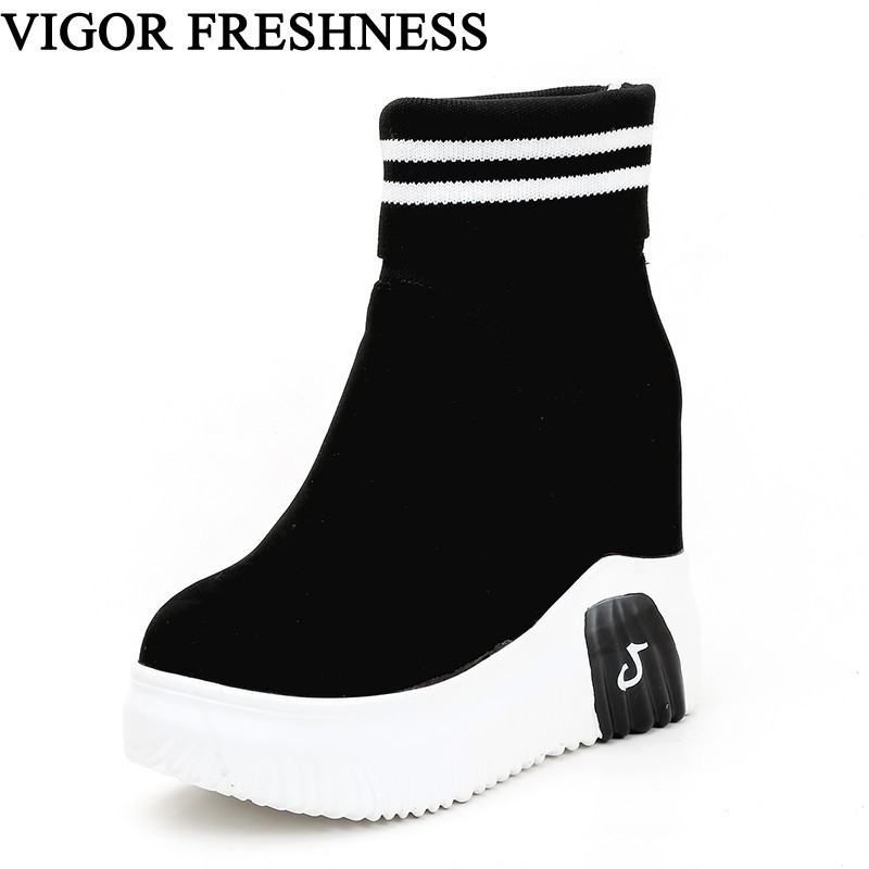 Image 1 - VIGOR FRESHNESS Woman Shoes Ankle Sock Boots Women Super High Heels Short Elastics Boots Autumn Shoes Platform Sneakers WY187-in Ankle Boots from Shoes