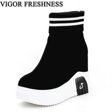 VIGOR FRESHNESS Woman Shoes Ankle Sock Boots Women Super High Heels Short Elastics Boots Autumn Shoes Platform Sneakers WY187(China)