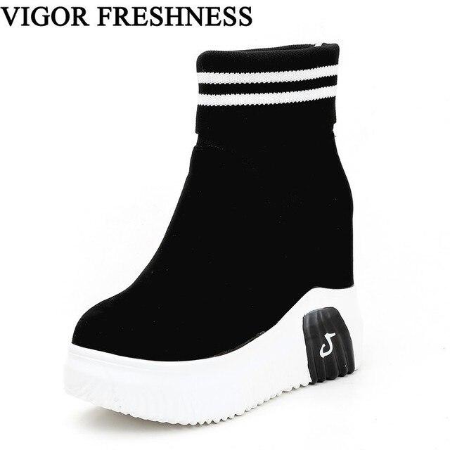 Vigor frescura mulher sapatos ankle sock botas mulheres super salto alto curto elásticos botas sapatos de outono tênis plataforma wy187