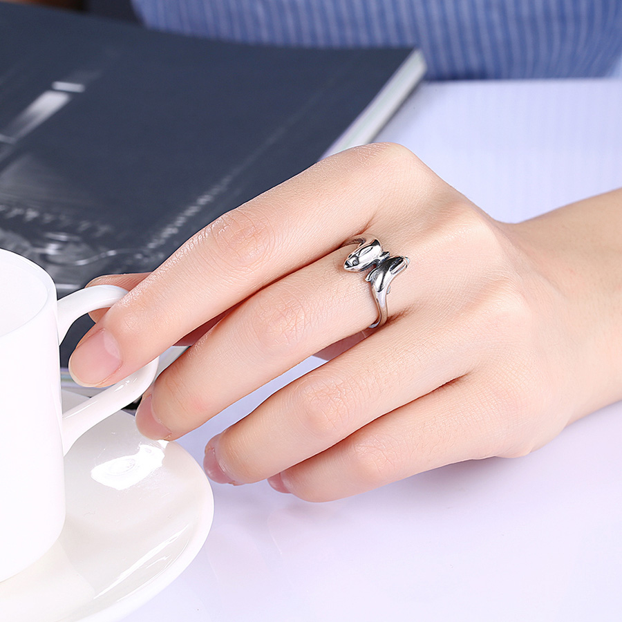 New Fashion Cute Double Dolphins Vintage Rings for Women Antique ...