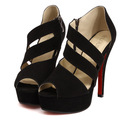 Hollow Out Peep Toe Black Pumps High Heels Women Sandals With Side Zipper Sexy Ladies Platform Shoes Sapatos Femininos WSH155