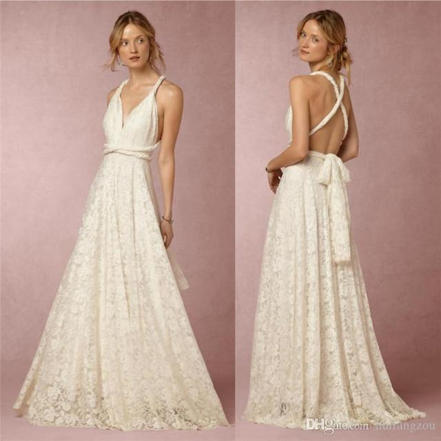 Full Lace Beach Wedding Dresses Plunging Neckline A Line Criss Cross Back Bridal Gowns Floor Length