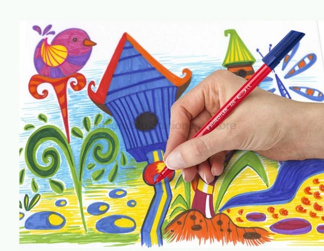 STAEDTLER 340 WP12 3.0mm 12 color Water-soluble Art Markers Pens set Special thick water pen Bright colors for kids promotion touchfive 80 color art marker set fatty alcoholic dual headed artist sketch markers pen student standard