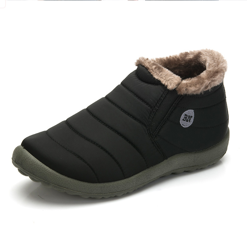New Fashion Men Winter Shoes Solid Color Snow Boots Plush Inside Antiskid Bottom Keep Warm Waterproof Ski Boots