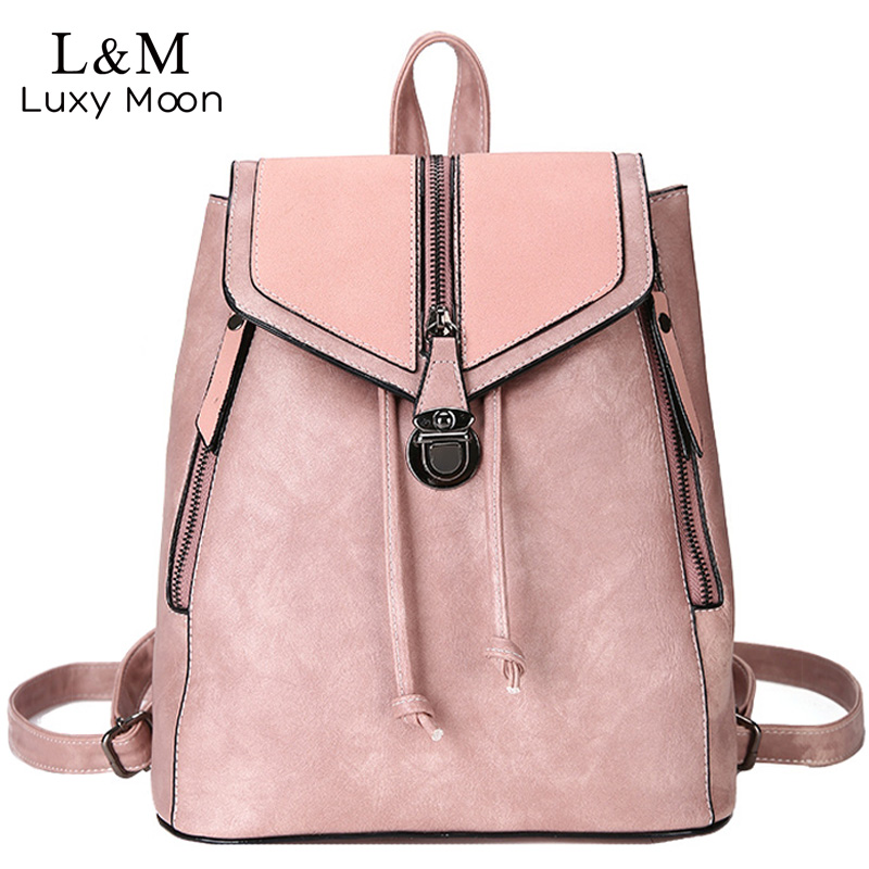 Vintage Matte Leather Women Backpacks High Quality Multifunc