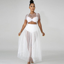 Summer new women's beaded mesh dress two-piece high waist pleated sexy fashion fairy dress suit цена 2017