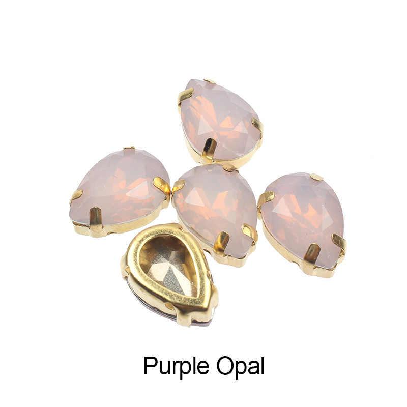 Neue Verkauf Nähen auf Klaue Strass 10X14mm Opal farbe Tropfen Harz Steine Für Bekleidungs DIY Freies Verschiffen