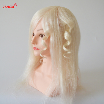 "18"" 100% Real Goat White Hair Hairdressing Head High Grade Dummy Head For Salon Female Hairdresser Training Head With Shoulder"