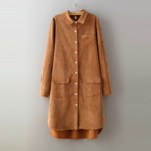 Vintage Long Sleeve Shirts Corduroy Spring and autumn Women Solid long Style Blouse blouses Tops in Blouses amp Shirts from Women 39 s Clothing