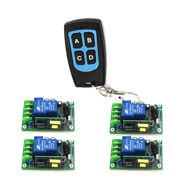 Free Shipping New 85V-250V 30A Signal Channel Wireless Remote Control Switch 315MHz 1 Transmitter+4 Receiver 4330