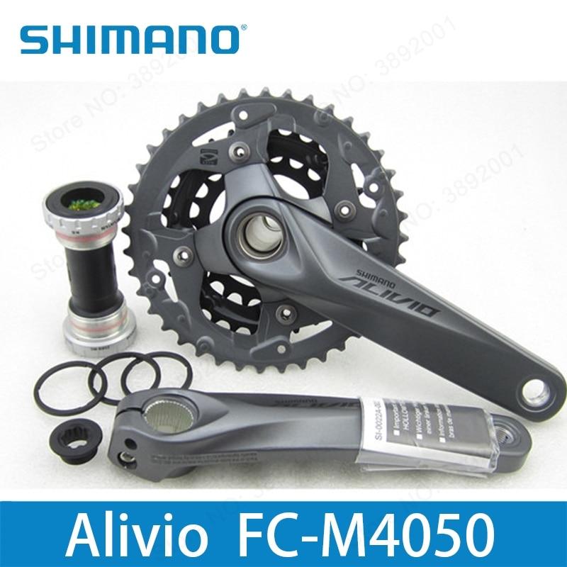 Shimano Alivio M4050 BIKE bicycle Crank Crankset FC-M4050 chain wheel with BB crank 170 175mm Hollow Tech bicycle parts запчасть shimano alivio m4050 efcm4050cx002x