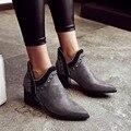 2017 женщин мартин сапоги отметил обувь пряжки осенью и зимой женская мода молнии сапоги заклепки плюс размер 34-48 европейский стиль