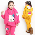V-TREE thicken children's winter clothing sets 3pcs/set girls clothing sets outdoor kids coat+pants hello kitty girls clothes