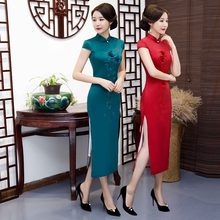 New Arrival Green Rayon Plus 4XL Chinese Women's Elegant Qipao Classic Flower Cheongsam Sexy Long Dress Summer Clothing(China)