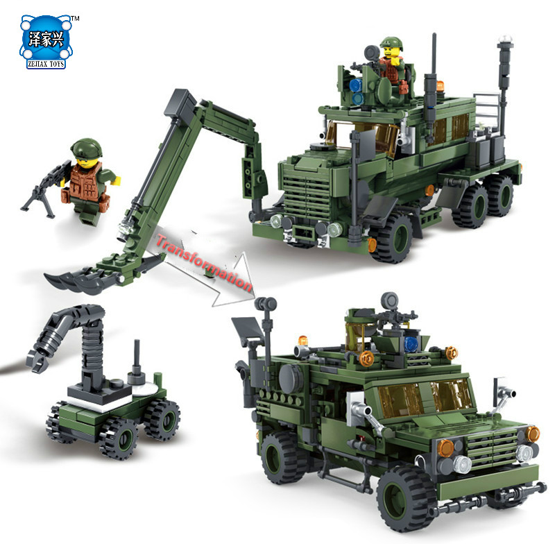 NEW 560Pcs Field Army Series Deformation M-ATV Minesweeping Car Military Children Gifts Building Blocks KAZI Educational Toys new lp2k series contactor lp2k06015 lp2k06015md lp2 k06015md 220v dc