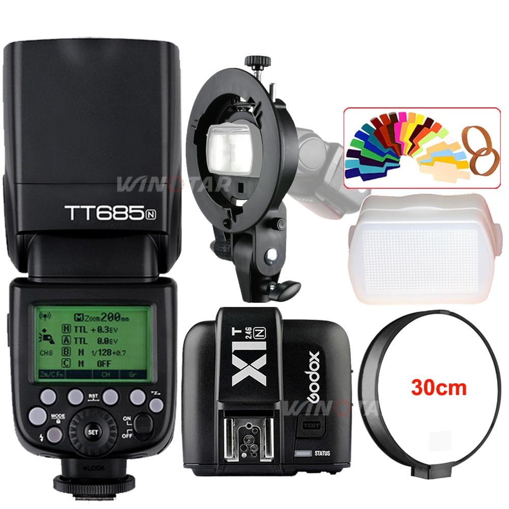 Godox TT685N 2 4G Wireless HSS 1 8000s TTL Camera Flash Speedlite X1T N Trigger Bowens