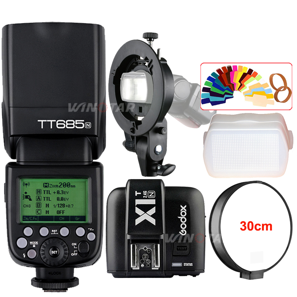 Godox TT685N 2.4G Wireless HSS 1/8000s TTL Camera Flash Speedlite + X1T-N Trigger + Bowens S-Type Bracket for Nikon DSLR Cameras meike mk 950ii n gn58 ttl wireless trigger remote flash speedlite for nikon dslr black