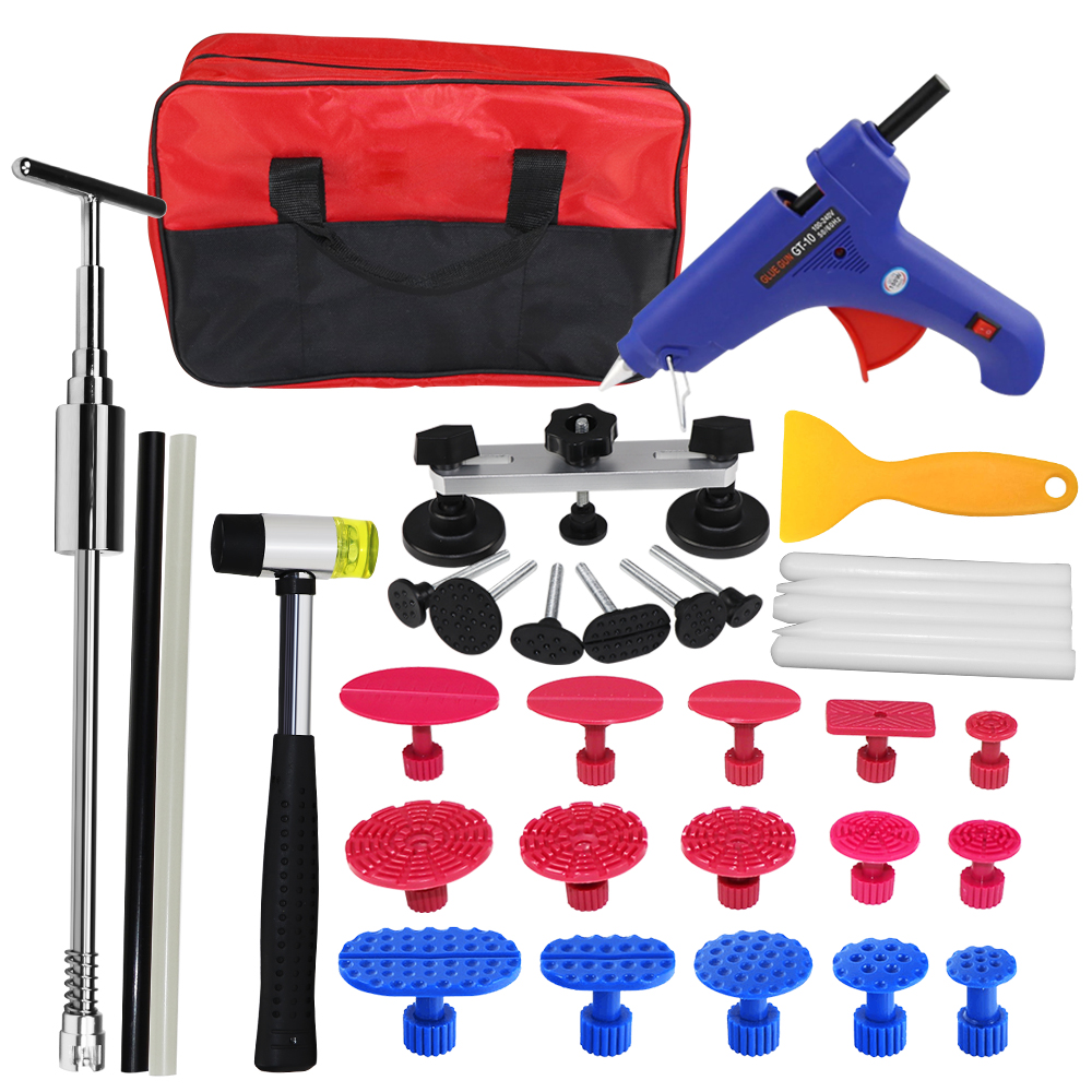 WHDZ Car body repair tool to remove dents PDR tool kit glue gun slide hammer reflector board hand tools set for auto tool kit green single board auto repair tool new vci vd tcs cdp full set housing cover 2014 r3 softwares for cars trucks universal tool