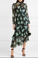 100% шелк женские с цветочным принтом Длинные рукава Окрашенные Сердце whitewave Многоуровневое длинное платье и скольжения комплект из 2 предмет