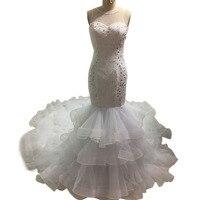 תמונות אמיתיות 100% בת ים שמלות כלה 2017 ראפלס אורגנזה רכבת קפלה ארוכה vestidos שמלת חתונה מפוארת robe de mariage