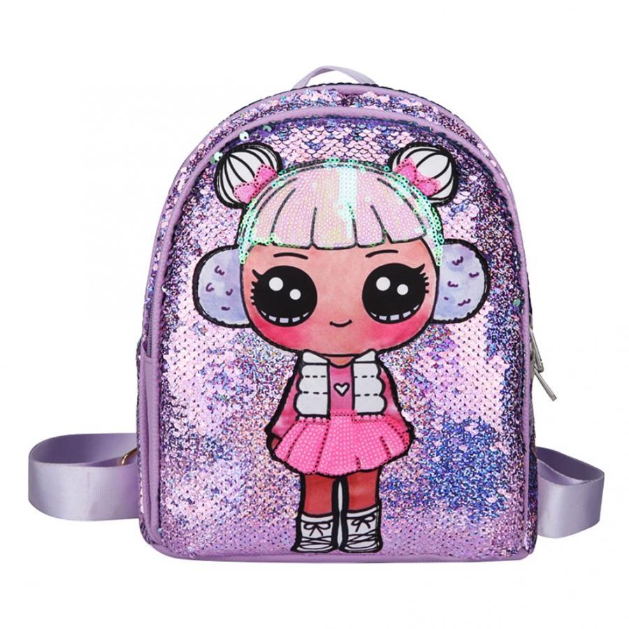 Sequin Kid Bag Double Zipper Cartoon Girl Backpack For Children School Bags Girls Lunch Bag Travel Bags Sequined Travel Knapsack