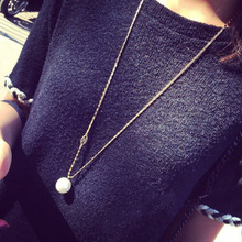 New Korean Brand Fashion Women's Jewelry Big Simulated Pearl Long Necklaces Sweater Chain