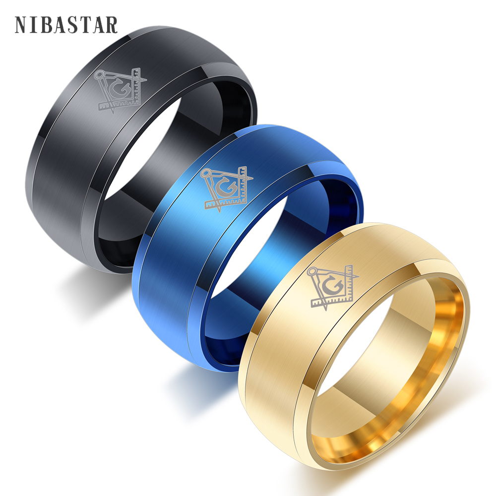 Never Fade 316l Stainless Steel Freemasonry Masonic Ring Mason Tungsten Carbide Wedding Ring Full Size 6-14 For Women Or Men