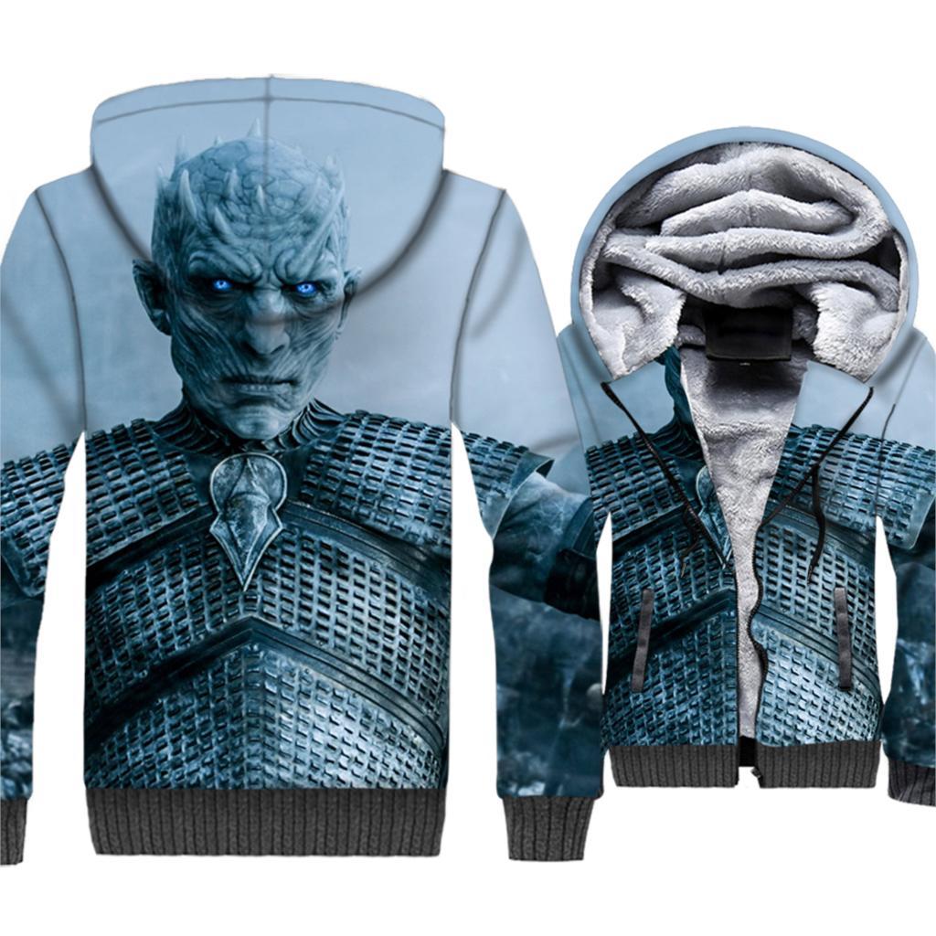 Bianco Primi passi e Girelli La Notte Re Stampa Game Of Thrones 3D Giubbotti 2019 Inverno Felpe Caldo Hip Hop Degli Uomini Con Cappuccio Plus. cappotto degli uomini di formato
