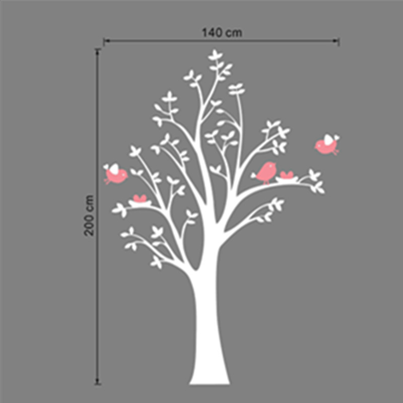 Children's Room Pink Birds White Tree 200CM High PVC Wall Vinyl - Home Decor - Photo 2