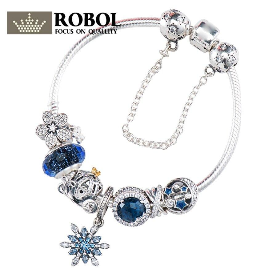 Original 925 argent charme série perle Rose Rose or dame bijoux cadeau mode Pandol 1:1 avec Logo Original Bracelet